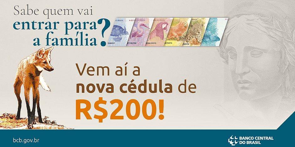 Banco Central anuncia cédula de R$ 200 com imagem do lobo-guará