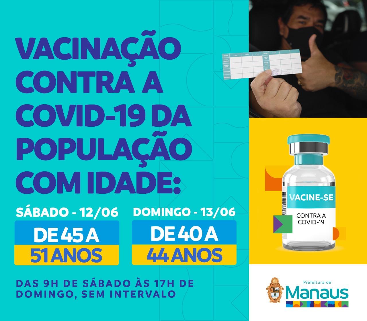 Combate à Covid-19: População de 40 a 51 anos terá 57 postos disponíveis para se vacinar neste fim de semana