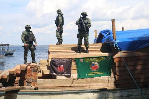 Batalhão Ambiental apreende 80 metros cúbicos de madeira ilegal