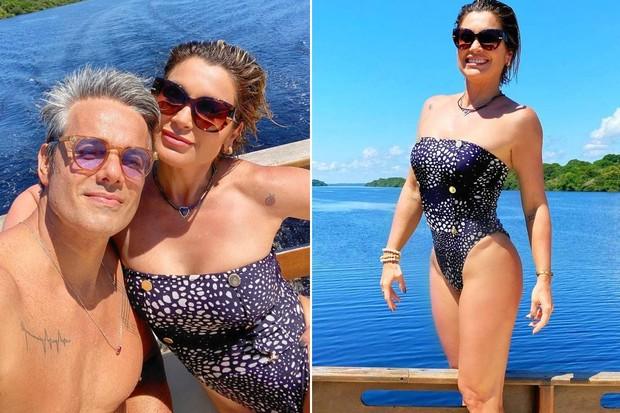 Flávia Alessandra e Otaviano Costa passeiam de barco e nadam no Rio Negro; veja fotos